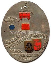 """NSKK - nichttragbare Teilnehmerplakette - """" Weser-Elbe Orientierungsfahrt NSKK Motorbrigade Nordsee 22.8.1937 """""""