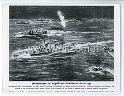 """III. Reich - gedrucktes Pressefoto """" Schnellboote im Angriff auf feindlichen Geleitzug """" 16.3.1944"""