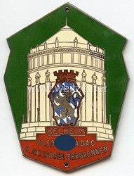 """III. Reich - ADAC ( Allgemeiner Deutscher Automobil-Club ) - nichttragbare Teilnehmerplakette - """" 8. Ratisbona Bergrennen Kelheim 20.8.1933 """""""