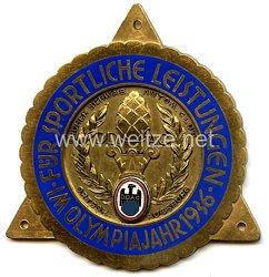 """III. Reich - Der Deutsche Automobil Club ( D.D.A.C. ) - nichttragbare Teilnehmerplakette - """" DDAC früher Schwäb. Autom. Club Ortsgr. Augsburg - Für sportliche Leistungen im Olympiajahr 1936 """""""