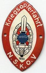 """NSKOV - nichttragbare Teilnehmerplakette - """" Kriegsopferfahrt 1933 """""""