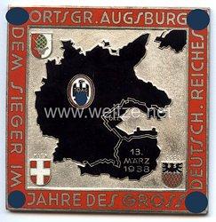 """III. Reich - Der Deutsche Automobil Club ( D.D.A.C. ) - nichttragbare Siegerplakette - """" DDAC Ortsgr. Augsburg dem Sieger im Jahre des Grossdeutsch. Reiches 1. Okt. 13. März 1938 """""""