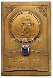"""III. Reich - Der Deutsche Automobil Club ( D.D.A.C. ) - nichttragbare Teilnehmerplakette - """" Motorrad-Rennen Hamburg-Farmsen 19. Juli 1936 Sieger-Rennen 2. Preis """""""