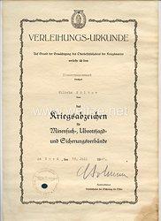 Kriegsabzeichen für Minensuch-, Ubootsjagd-und Sicherungsverbände - Verleihungsurkunde