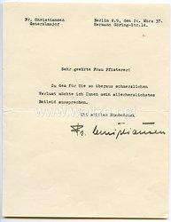 Luftwaffe - Originalunterschrift von Generalmajor Friedrich Christiansen