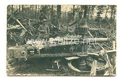 1. Weltkrieg Deutsches Heer Foto, beschädigteFeldkanone