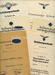 Luftwaffe - Urkundengruppe für einen späteren Fahnenjunker-Feldwebel