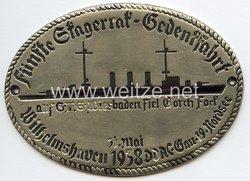 """III. Reich - Der Deutsche Automobil Club ( D.D.A.C. ) - nichttragbare Teilnehmerplakette - """" DDAC Gau 19 Nordsee 5. Skagerrak-Gedenkfahrt auf S.M.S. Wiesbaden fiel Gorch Fock 31. Mai 1938 Wilhelmshaven """""""
