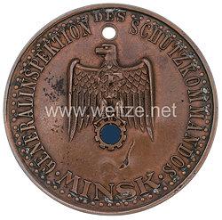 """III. Reich Dienstmarke """"Generalinspektion des Schutzkommandos Minsk - Überwachungs-Beamter Abtlg. GÜ. 016"""""""