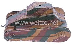 Blechspielzeug - Panzer in Mimikri-Tarnung( Tank des 1. Weltkrieges )