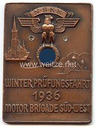 """NSKK - nichttragbare Teilnehmerplakette - """" Winterprüfungsfahrt 1936 Motor Brigade Süd-West """""""