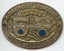 """NSKK / DDAC - nichttragbare Teilnehmerplakette - """" Zielfahrt Marburg 1934 Gau Hessen """""""