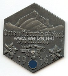 """NSKK - nichttragbare Teilnehmerplakette - """" Orientierungsfahrt Hochland 1936 - Dem erfolgreichen Fahrer """""""