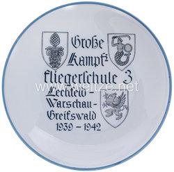 "Luftwaffe - Erinnerungsteller "" Große Kampffliegerschule 3 Lechfeld-Warschau-Greifswald 1939-1942 """