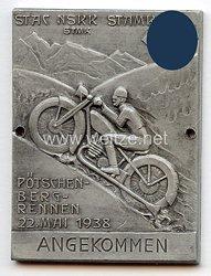 """NSKK - nichttragbare Teilnehmerplakette - """" Pötschenbergrennen 22. Mai 1938 angekommen """""""