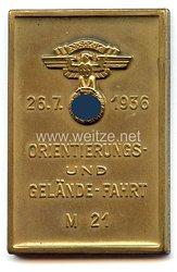 """NSKK - nichttragbare Teilnehmerplakette - """" 26.7.1936 Orientierungs- und Gelände-Fahrt M 21 """""""