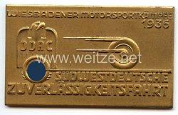 """Der Deutsche Automobil Club ( DDAC ) - nichttragbare Teilnehmerplakette - """" Südwestdeutsche Zuverlässigkeitsfahrt Wiesbadener Motorsportkämpfe 1936 """""""