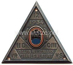 """III. Reich - Der Deutsche Automobil Club ( D.D.A.C. ) - nichttragbare Teilnehmerplakette - """" Gau 15 Westmark Jahres-Wertung 1934 """""""