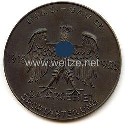 """III. Reich - Der Deutsche Automobil Club ( D.D.A.C. ) - nichttragbare Teilnehmerplakette - """" Gau 22 Saargebiet Sportabteilung 1918-1935 """""""