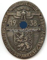 """NSKK - nichttragbare Teilnehmerplakette - """" Nachtorientierungsfahrt Motorgruppe Ostsee 12./13. November 1938 - Quer durch Pommern """""""