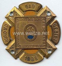 """III. Reich - Der Deutsche Automobil Club ( D.D.A.C. ) - nichttragbare Teilnehmerplakette - """" Zuverlässigkeitsfahrt des DDAC Gau 20 Hansa 2. August 1936 """""""