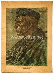 """Willrich farbiges Plakat aus der Serie - """" Vorkämpfer des Heeres """" - Oberfeldwebel Otto Brakat - Ritterkreuzträger"""
