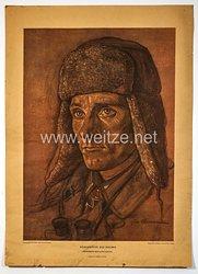 """Willrich farbiges Plakat aus der Serie - """" Vorkämpfer des Heeres """" - Oberfeldwebel Georg Heinzmann - Ritterkreuzträger"""