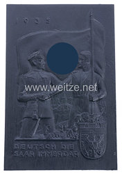 """III. Reich - Erinnerungsplakette - """" 1935 Deutsch die Saar immerdar """""""