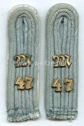 Wehrmacht Heer Paar Schulterstücke für einen Leutnant Maschinengewehr-Abt. Nr. 47