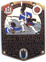 """III. Reich - Der Deutsche Automobil Club ( D.D.A.C. ) - nichttragbare Teilnehmerplakette - """" Zielfahrt Ortsgruppe Detmold DDAC 8. Juli 1934 """""""