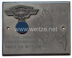 """NSKK - nichttragbare Teilnehmerplakette - """" M/252 I. Gelände-Orientierungsfahrt um Wittlich 31.10.1937 """""""