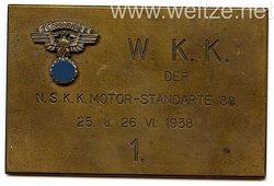 """NSKK - nichttragbare Teilnehmerplakette - """" W.K.K. der NSKK Motor-Standarte 88 25. u. 26.6.1938 1."""""""