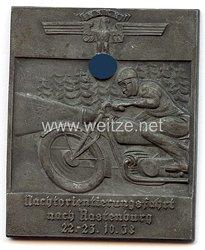 """NSKK - nichttragbare Teilnehmerplakette - """" Nachtorientierungsfahrt nach Rastenburg 22.-23.10.1938 """""""
