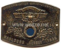 """NSKK - nichttragbare Teilnehmerplakette - """" NSKK Trupp II 33/M54 Orientierungs- u. Prüfungsfahrt Maulburg Herbst 1936 """""""