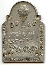 "III. Reich - Der Deutsche Automobil Club ( D.D.A.C. ) - nichttragbare Teilnehmerplakette - "" Ballon-Verfolgung Ortsgruppe Dresden 27. Oktober 1935 """