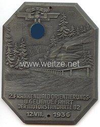 """NSKK - nichttragbare Teilnehmerplakette - """" 2. Frankenwald Orientierungs- u. Geländefahrt der Motorstandarte 82 12.7.1936 """""""