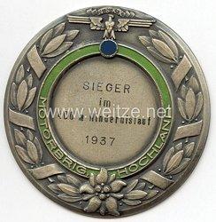 """NSKK - nichttragbare Siegerplakette - """" Motorbrigade Hochland Sieger im 400 m Hindernislauf 1937 """""""
