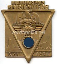 """NSKK / DDAC - nichttragbare Teilnehmerplakette - """" Dreieckrennen Marienberg 6. Mai 1934 """""""