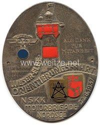"""NSKK - nichttragbare Teilnehmerplakette - """" Weser-Elbe Orientierungsfahrt NSKK Motorbrigade Nordsee 22.8.1937 - Als Dank für Mitarbeit """""""