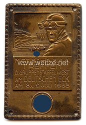 """SA / NSKK - nichttragbare Teilnehmerplakette - """" Motor SA - NSKK Treffen der Gruppenstaffel West am Deutschen Eck am 8.u.9.Juli 1933 """""""