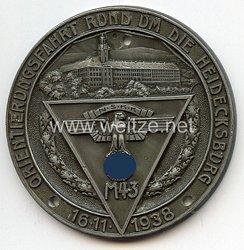 """NSKK - nichttragbare Teilnehmerplakette - """" NSKK M43 Orientierungsfahrt rund um die Heidecksburg 16.11.1938 """""""