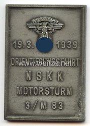 """NSKK - nichttragbare Teilnehmerplakette - """" NSKK Motorsturm 3/M83 Orientierungsfahrt 19.3.1939 """""""