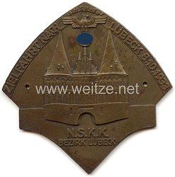 """NSKK - nichttragbare Teilnehmerplakette - """" NSKK Bezirk Lübeck Zielfahrt nach Lübeck 8.10.1933 """""""