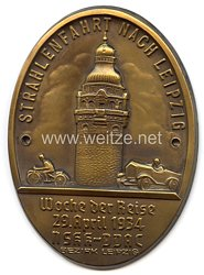 """NSKK / DDAC - nichttragbare Teilnehmerplakette - """" Strahlenfahrt nach Leipzig - Woche der Reise 29. April 1934 - Bezirk Leipzig """""""