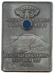 """NSKK - nichttragbare Teilnehmerplakette - """" NSKK Motorbrigade Süd-West Bergprüfungsfahrt auf den Ipf 1936 """""""