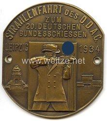 """III. Reich - Der Deutsche Automobil Club ( D.D.A.C. ) - nichttragbare Teilnehmerplakette - """" Strahlenfahrt des DDAC zum 20. Deutschen Bundesschiessen Leipzig 1934 """""""
