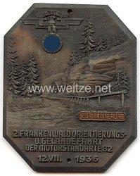 """NSKK - nichttragbare Teilnehmerplakette zur Erinnerung - """" 2. Frankenwald Orientierungs- u. Geländefahrt der Motorstandarte 82 12.7.1936 """""""