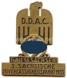 """III. Reich - Der Deutsche Automobil Club ( D.D.A.C. ) - nichttragbare Teilnehmerplakette - """" DDAC Gau 16 Sachsen 2. Sächsische Zuverlässigkeitsfahrt 1935 """""""
