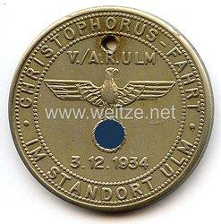"""Heer 5./Artillerie-Regiment Ulm - nichttragbare Teilnehmerplakette - """" Christophorus-Fahrt V./A.R. Ulm 3.12.1934 Standort Ulm """""""