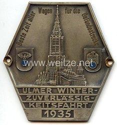 """NSKK / DDAC - nichttragbare Teilnehmerplakette - """" Ulmer Winterzuverlässigkeitsfahrt 1935 - Beste Zeit aller Wagen für die Geländestrecke """""""